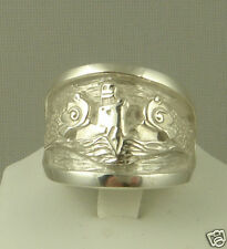US Navy Licensed submarine dolphin regulation ring solid .925 sterling size 8.5