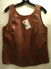 """FABULOUS DOUBLE D RANCHWEAR LEATHER """"DUNDEE TANK"""", RED CLAY, SIZE MEDIUM - NWT"""