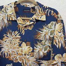 Vintage Men's OP Ocean Pacific Blue Floral Hawaiian Button Front Shirt - Large