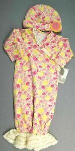 Baby Girl Clothes New Cachcach 0-3 Month 2Pc Floral Lace Bottom Sleep Gown W/Hat