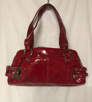 Franco Sarto Women Red Patent Leather Hand Bag /Shoulder Bag Medium Size