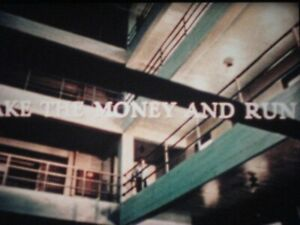 Super8 film Take the money and Run. 400ft Colour Sound, starring Woody Allen.