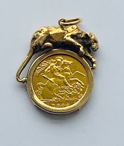 """22ct Gold 1982 Half Sovereign Panther Pendant"" Heavy 7.3g"