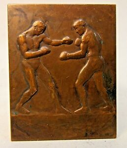1920's bronze BOXER BOXING Presentation PLAQUE by Andre Mery unawarded