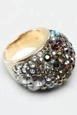 SWAROVSKI STATEMENT CHIC MOCCA GLAMOUR CRYSTAL CLUSTER RING NEW SIZE 52