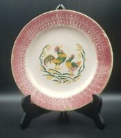"""SMF Schramberg Germany 7 3/4"""" Pink Spatterware Rooser & Hen plate As Found"""