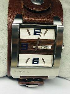 Men's Fossil JR-9483 Brown/Silver Tone Quartz Date Watch New Battery