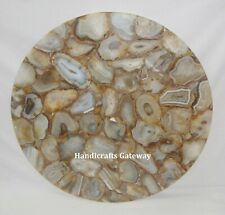 Semiprecious Stone Agate Handmade Coffee Table Top, Natural Stone Table Tops