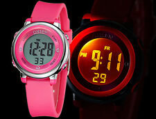 OHSEN Digital Alarm Stopwatch LED Light Waterproof Girls Sport Pink Watch