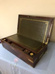 Large Victorian Solid Mahogany Brass Regency Bound Campaign Writing Slope