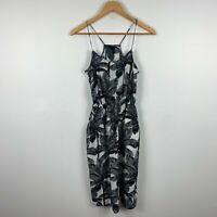 H&M Womens Dress Size US 2 AU 6 Black Coconut Trees Elastic Waist Sleeveless