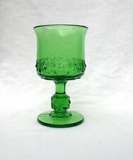 L G Wright  Stars And Bars Daisy Cube Green Goblet 1940s - 1960s
