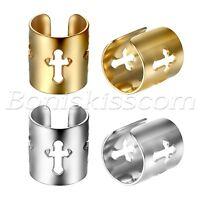 2pc Men Women Stainless Steel Cross Ear Cuff Non-Piercing Clip On Earrings Studs
