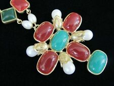 Maltese Cross Necklace Faux Pearl Jade Colored Lucite Cabochons Gorgeous