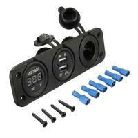 12V Dual USB Car Boat Motorcycle Voltmeter Cigarette Lighter Power Plug Socket I