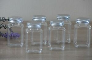 Sets Small Plastic Storage Jars Metal Screw Lids Spice Herb Stationary Craft
