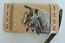 Tan Equestrian Embroidered Horse Head Zipped Wristlet Wallet