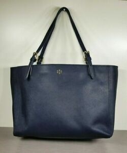 Tory Burch York Buckle Tote, Navy Saffiano Leather