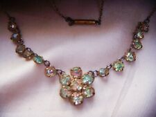 ART DECO Iris Watermelon Open Back Crystal Bezel Set Flower Vintage NECKLACE