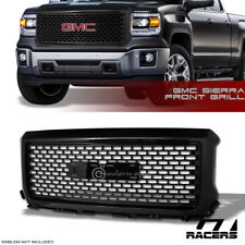 For 2014-2015 GMC Sierra 1500 Oe Square Mesh Front Bumper Grille - Glossy Black