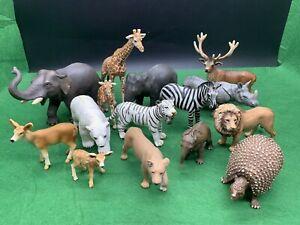 15 X Schleich Wild Life Zoo Lot - Elephants Deers Inc Rare Prehistoric Glyptodon