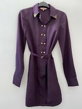 Ted Baker Shirt Dress Size 0 6 Purple Plum Gold Button Collar Design Boho Belt