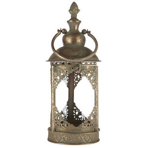 Lantern Metal & Glass Round Handle in Antique Gold Finish with Filigree Accents