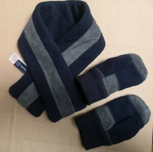 baby GAP Scarf And Gloves / mittens Set Boys Navy and Grey