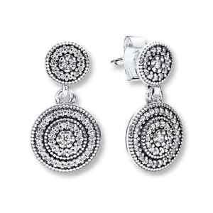 *Pandora Sterling Silver Radiant Elegance Dangle Earrings #290688CZ