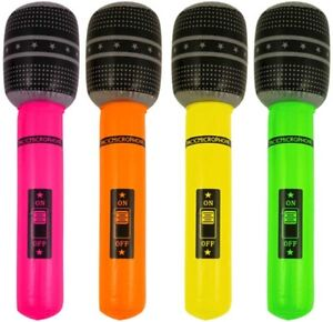 .LARGE Inflatable 66cm Microphone 4 Colours Blow Up Rock & Roll  UK Seller
