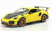 PORSCHE 911 GT2 RS 1:24 Scale Metal Diecast Car Model Die Cast Models Yellow