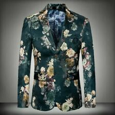 Mens Long sleeve Blazer jackets Coats Outdoor Slim fit Formal Floral printed New