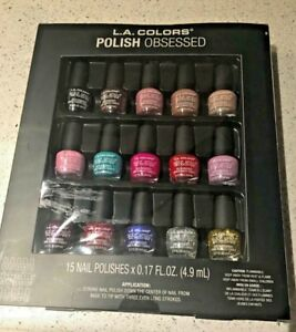 L.A. Colors Polish Obsessed, 15 Colors 0.17 Fl Oz, New