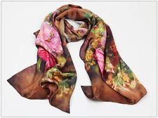 Woman's Elegant Oblong 100% Silk Scarf (Elegant Peonies)