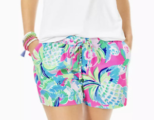 "LILLY PULITZER Katia 5"" Inseam Shorts Rayon Multi Raise The Bar - Size XL -  $74"