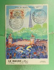 DR WHO 1955 FRANCE SPORTS TOUR DE FRANCE BICYCLE MAXIMUM CARD LE HAVRE  g19459