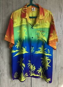 Rima Hawaiian Size L Blue Yellow with Palm Trees Button Up Polo Shirt Men's