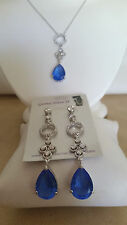 SPECIAL OCCASION & BRIDAL BLUE CUBIC ZIRCONIA  PEAR SHAPE NECKLACE & EARRING SET