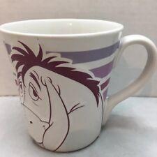 Eeyore Coffee Mug Disney Store Embossed Purple White Ceramic Cup Winnie The Pooh