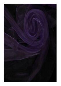 aubergine dark purple organza fabric 150 cm width