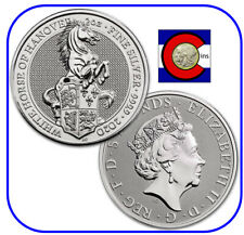 2020 Queen's Beast White Horse of Hanover 2 oz Silver Coin in direct fit capsule