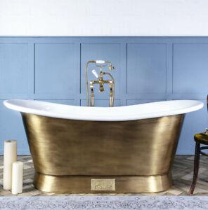 Witt & Berg Copper Bateau Bathtub - Antique Brass Exterior / Enamel Interior