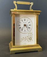 Brass Bulova Desk Mantel Carriage Clock Vintage Rare Collectable WORKS PERFECTLY