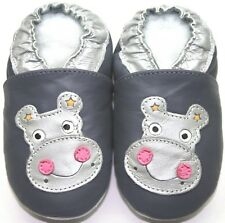 minishoezoo soft sole leather baby shoes hippo grey 12-18 free shipping slippers