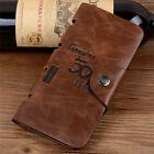 Men's Leather Wallet Bifold ID Card Holder Checkbook Long Clutch Billfold Purse
