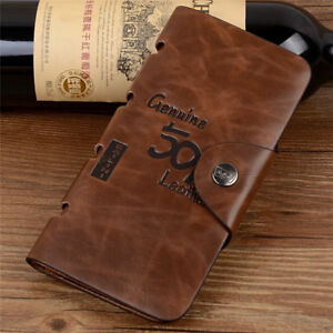 Men's Leather Wallet Bifold ID Card Holder Checkbook Long Clutch Billfold Purse