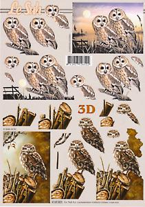 Owls / Owl & Hawks - various -  2*Non-die-cut Le Suh Decoupage Sheets