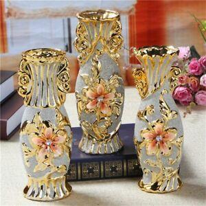 Gold Color Porcelain Vase Vintage Ceramic Flower Pot Home Decor for Room Study