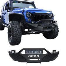 OPAR Textured Front Bumper w/ LED Light Bar for 07-18 Jeep Wrangler JK&Unlimited