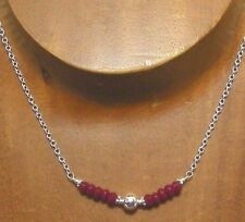 Sterling Silver Faceted Natural RUBY Gemstone Necklace #886...Handmade USA
